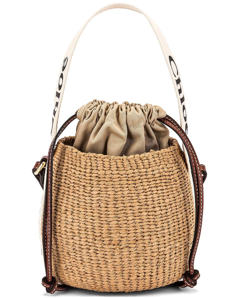 Image 1 of Chloe Woody Basket Bag in White