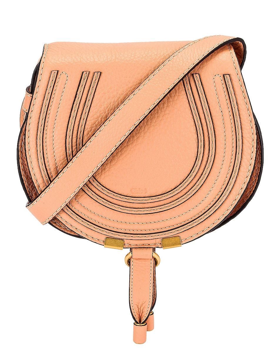 Image 1 of Chloe Small Marcie Grained Calfskin Saddle Bag in Peach Bloom