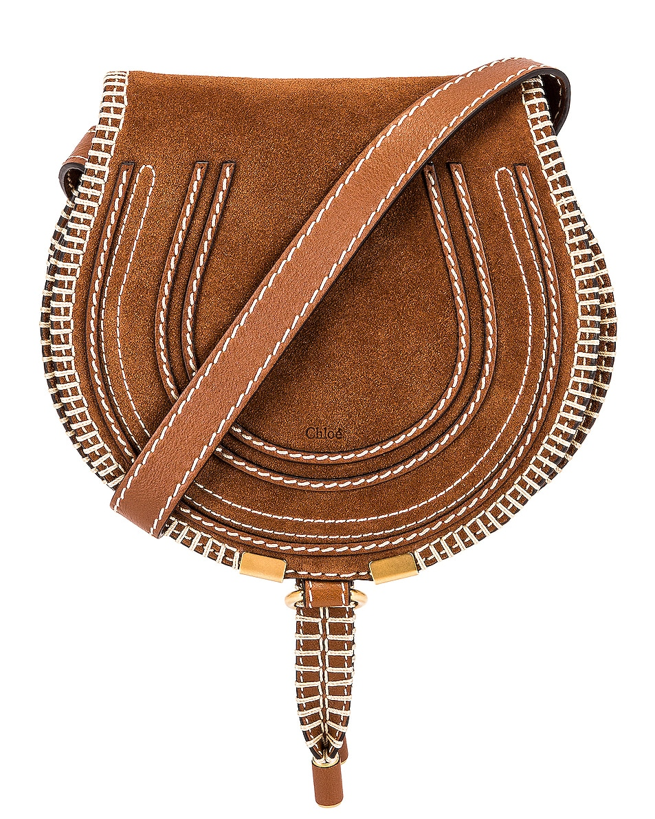 Image 1 of Chloe Small Marcie Suede Saddle Bag in Tan