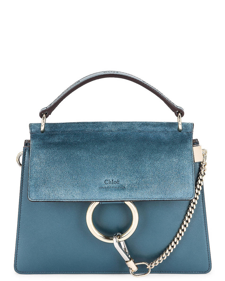 Image 1 of Chloe Small Faye Top Handle Shoulder Bag in Mirage Blue