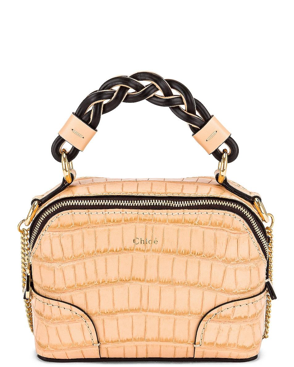 Image 1 of Chloe Mini Daria Embossed Croc Bag in Sandy Beige