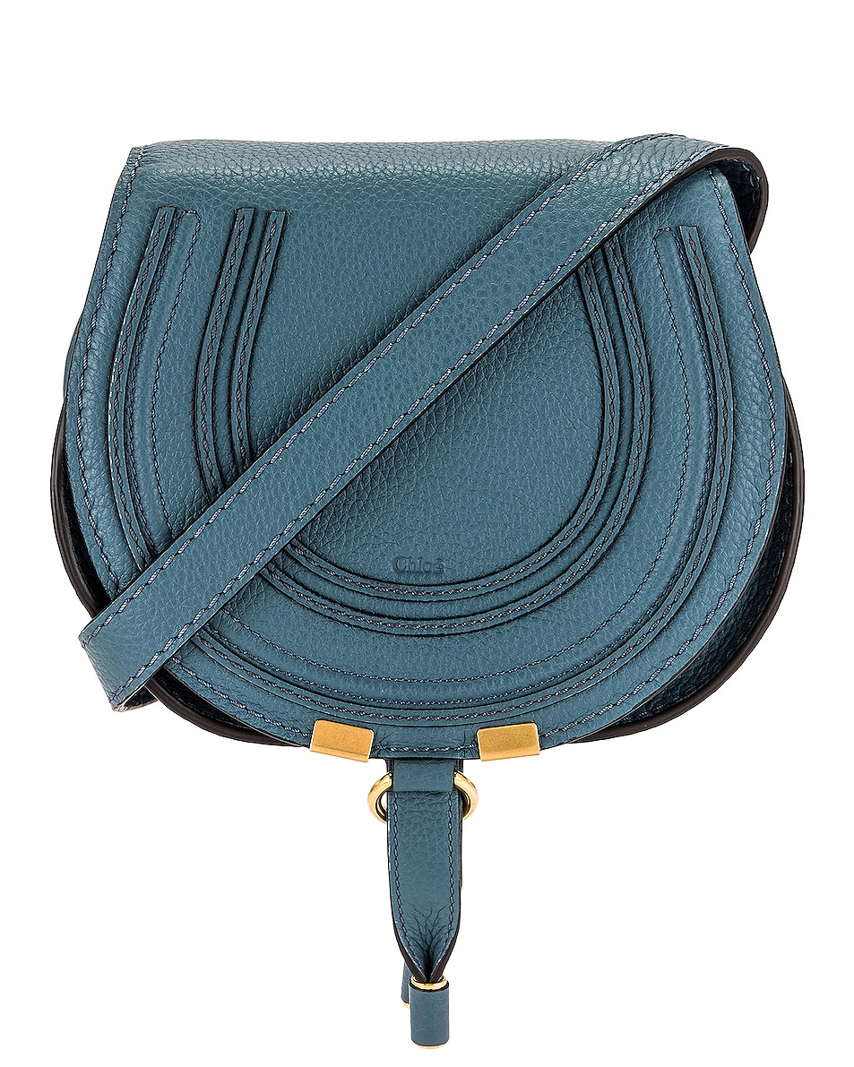 Image 1 of Chloe Small Marcie Saddle Bag in Mirage Blue