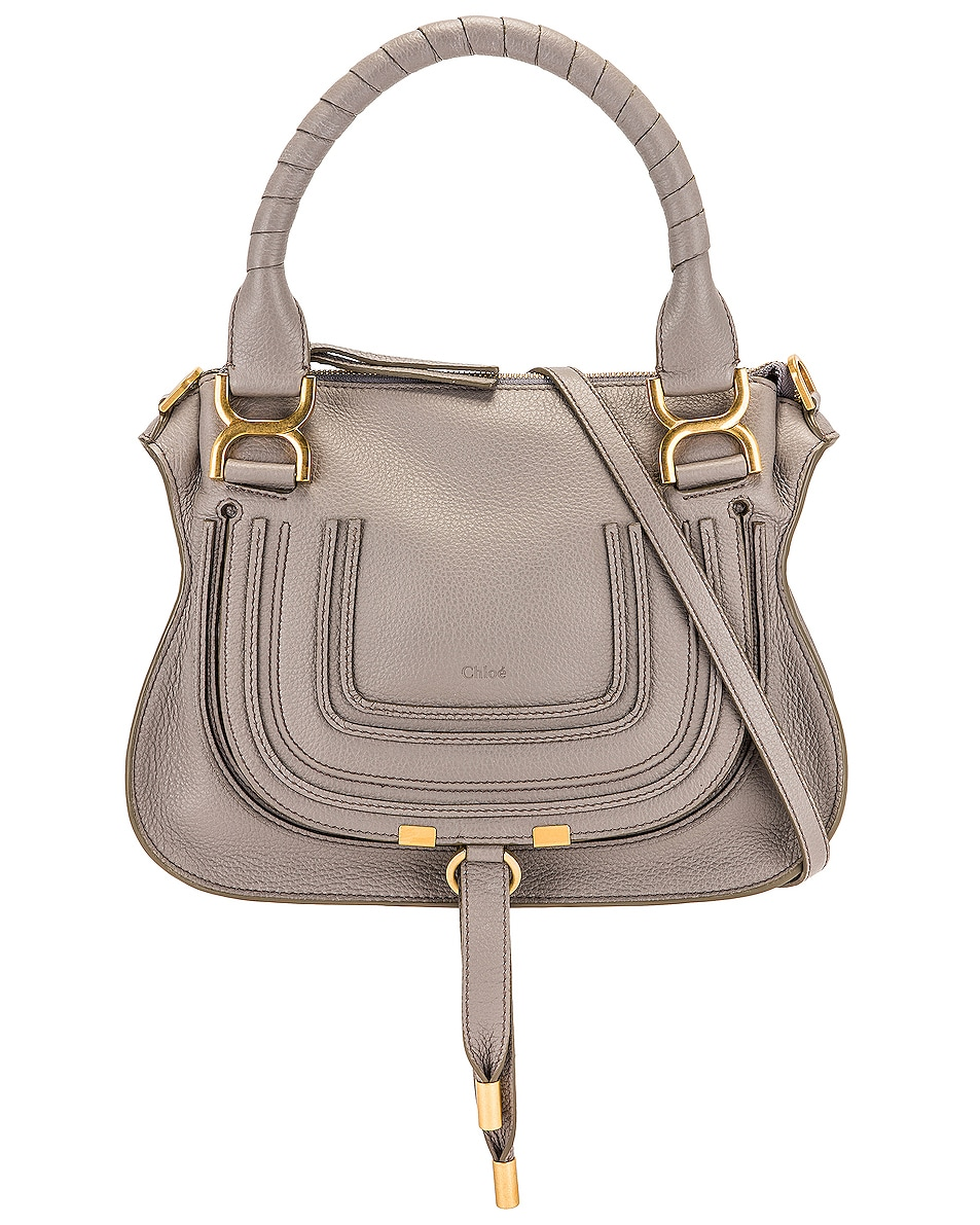 Image 1 of Chloe Small Marcie Saddle Bag in Cashmere Grey
