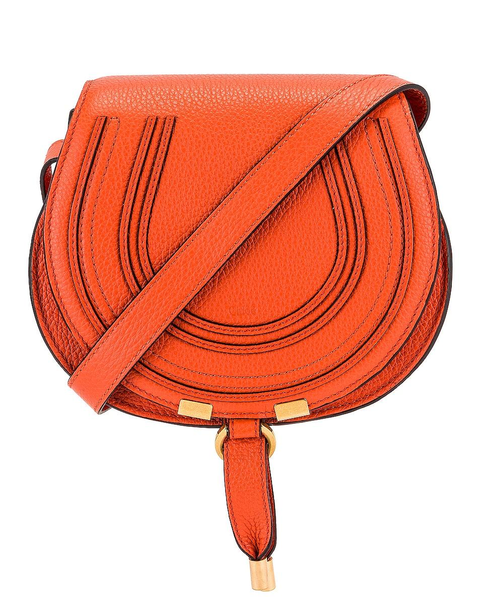 Image 1 of Chloe Small Marcie Saddle Bag in Radiant Orange