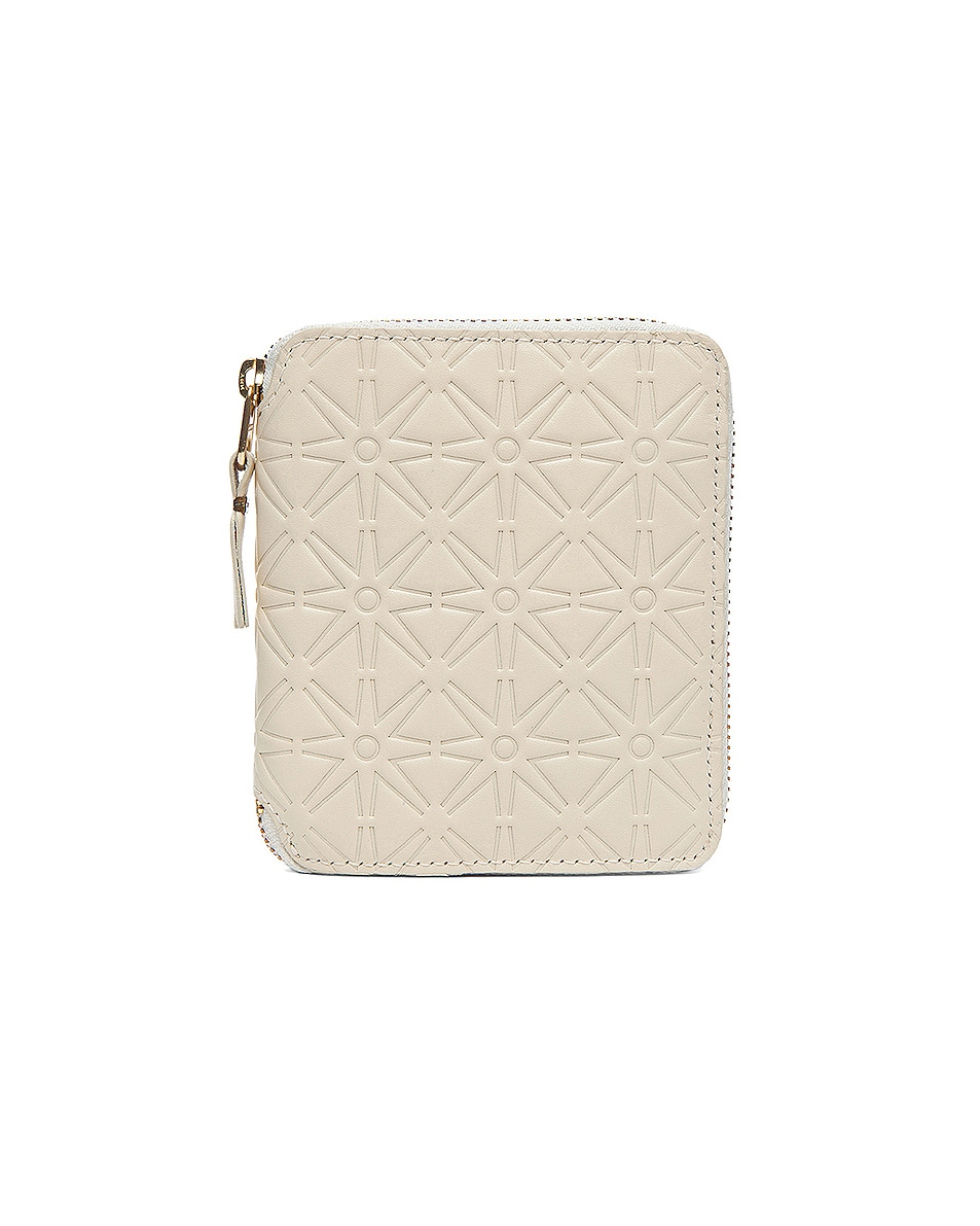 Image 1 of Comme Des Garcons Star Embossed Zip Fold Wallet in Off White