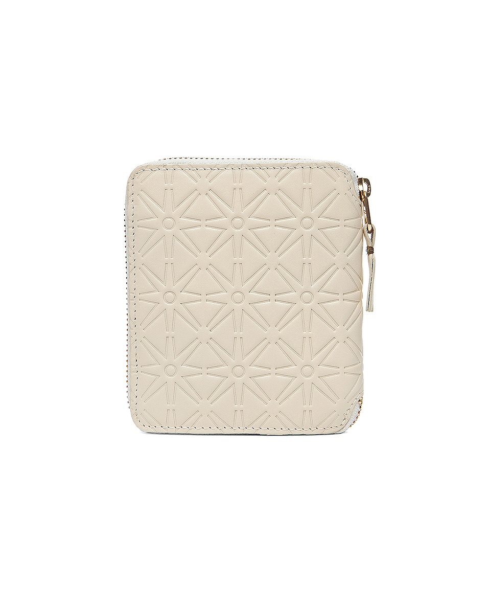 Image 2 of Comme Des Garcons Star Embossed Zip Fold Wallet in Off White