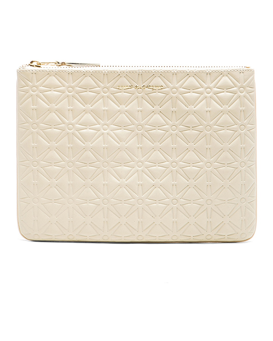 Image 1 of Comme Des Garcons Star Embossed Pouch in Off White