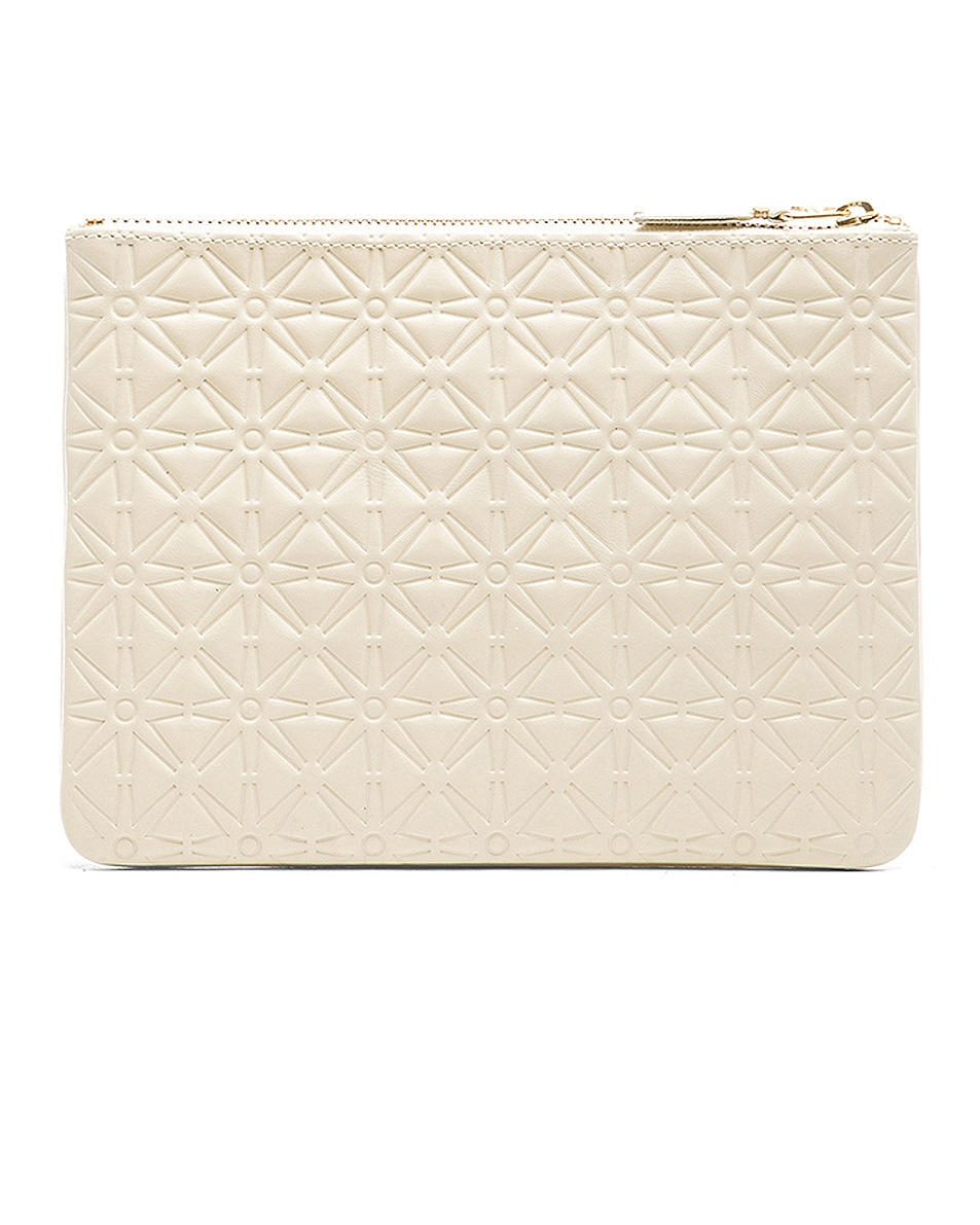 Image 2 of Comme Des Garcons Star Embossed Pouch in Off White