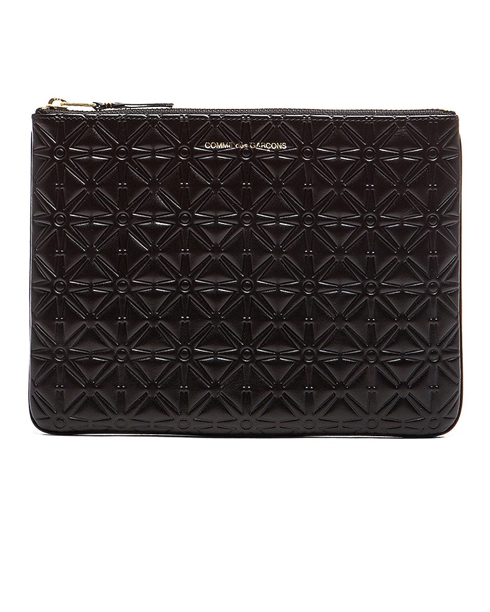Image 1 of Comme Des Garcons Star Embossed Pouch in Black