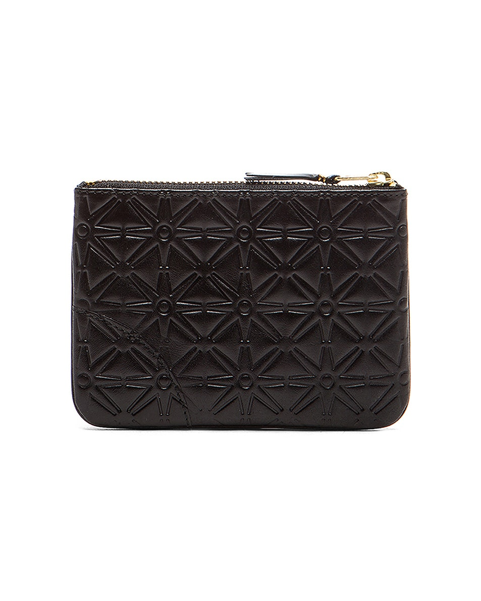 Image 2 of Comme Des Garcons Small Star Embossed Pouch in Black