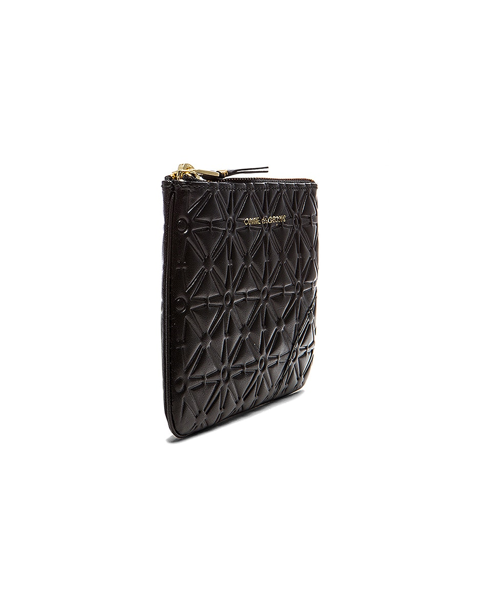 Image 3 of Comme Des Garcons Small Star Embossed Pouch in Black