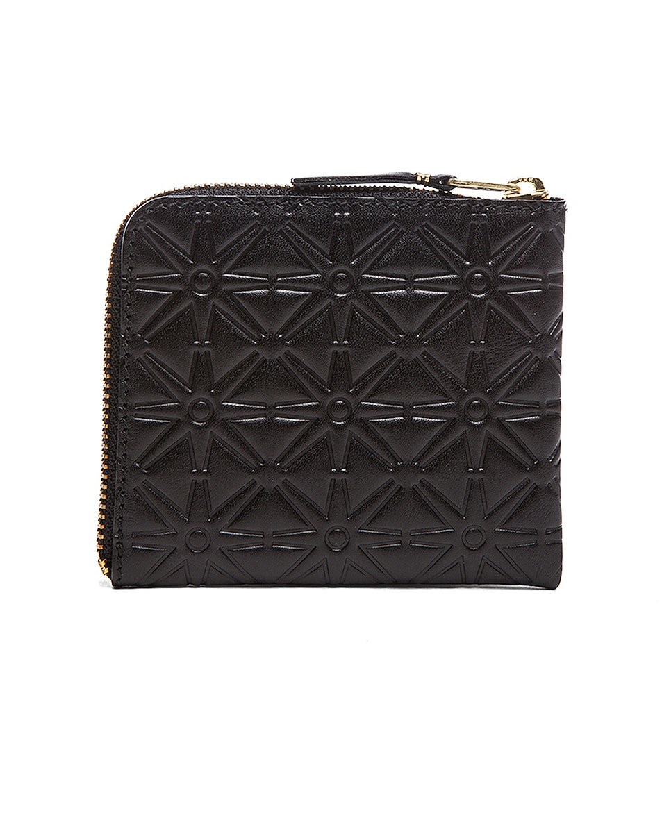 Image 2 of Comme Des Garcons Small Star Embossed Zip Wallet in Black