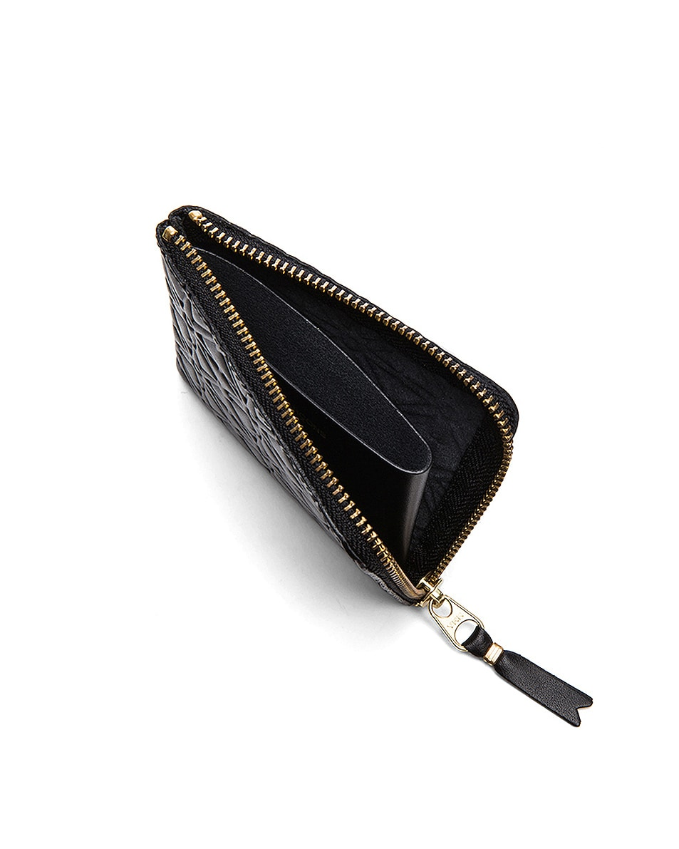 Image 4 of Comme Des Garcons Small Star Embossed Zip Wallet in Black