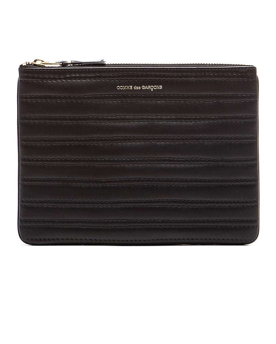Image 1 of Comme Des Garcons Embossed Stitch Pouch in Black