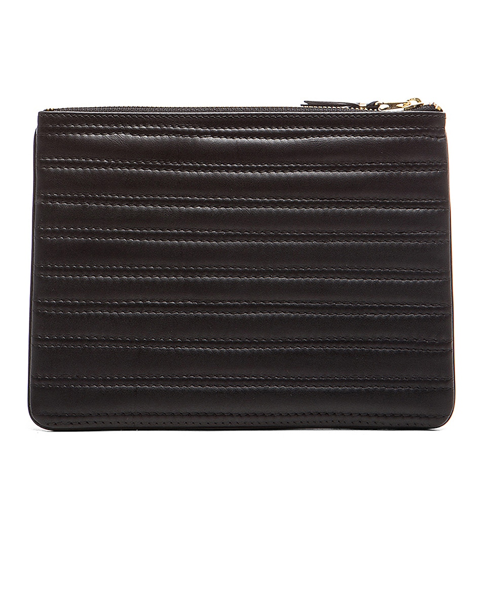 Image 2 of Comme Des Garcons Embossed Stitch Pouch in Black