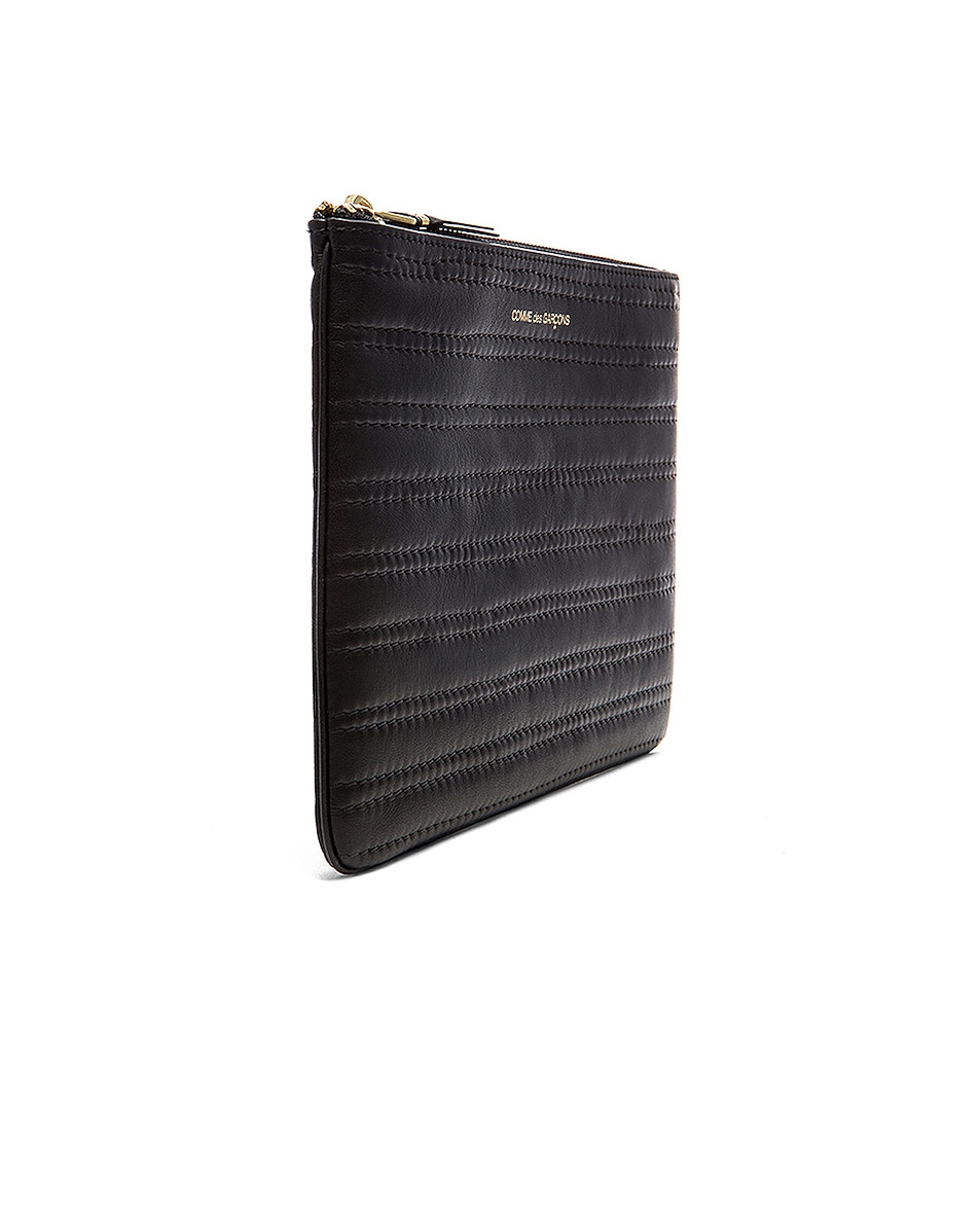 Image 3 of Comme Des Garcons Embossed Stitch Pouch in Black