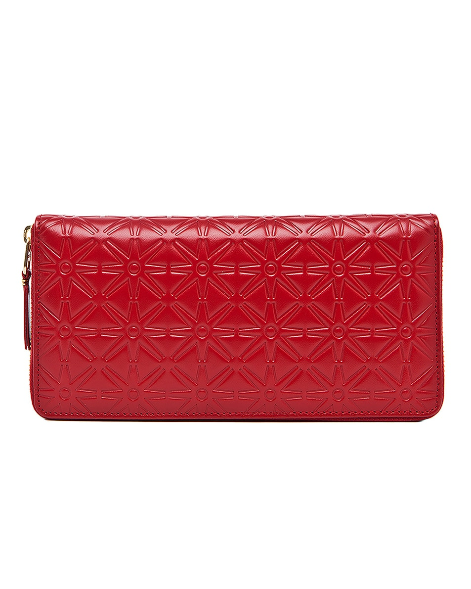 Image 1 of Comme Des Garcons Star Embossed Long Wallet in Red