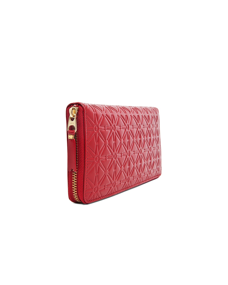 Image 3 of Comme Des Garcons Star Embossed Long Wallet in Red