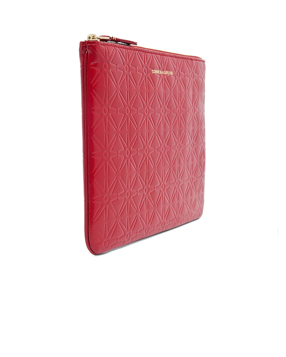 Image 3 of Comme Des Garcons Star Embossed Pouch in Red