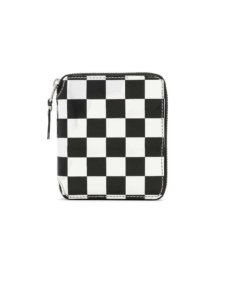 Image 1 of Comme Des Garcons Optical Zip Wallet in Check & Silver