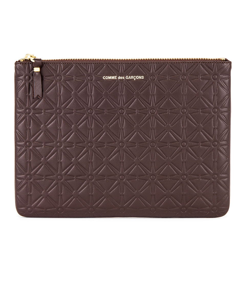 Image 1 of Comme Des Garcons Star Embossed Pouch in Brown