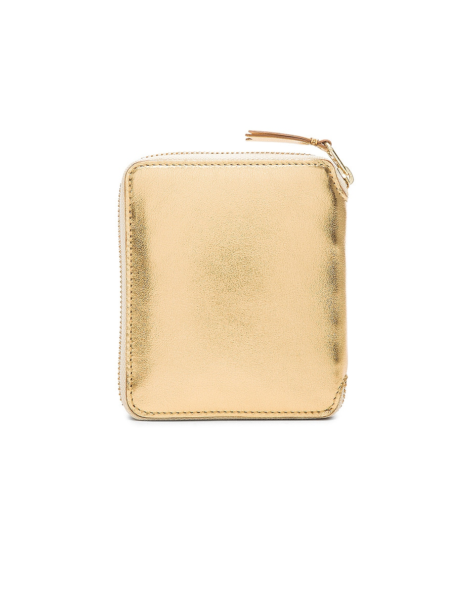 Image 2 of Comme Des Garcons Gold Line Zip Wallet in Gold