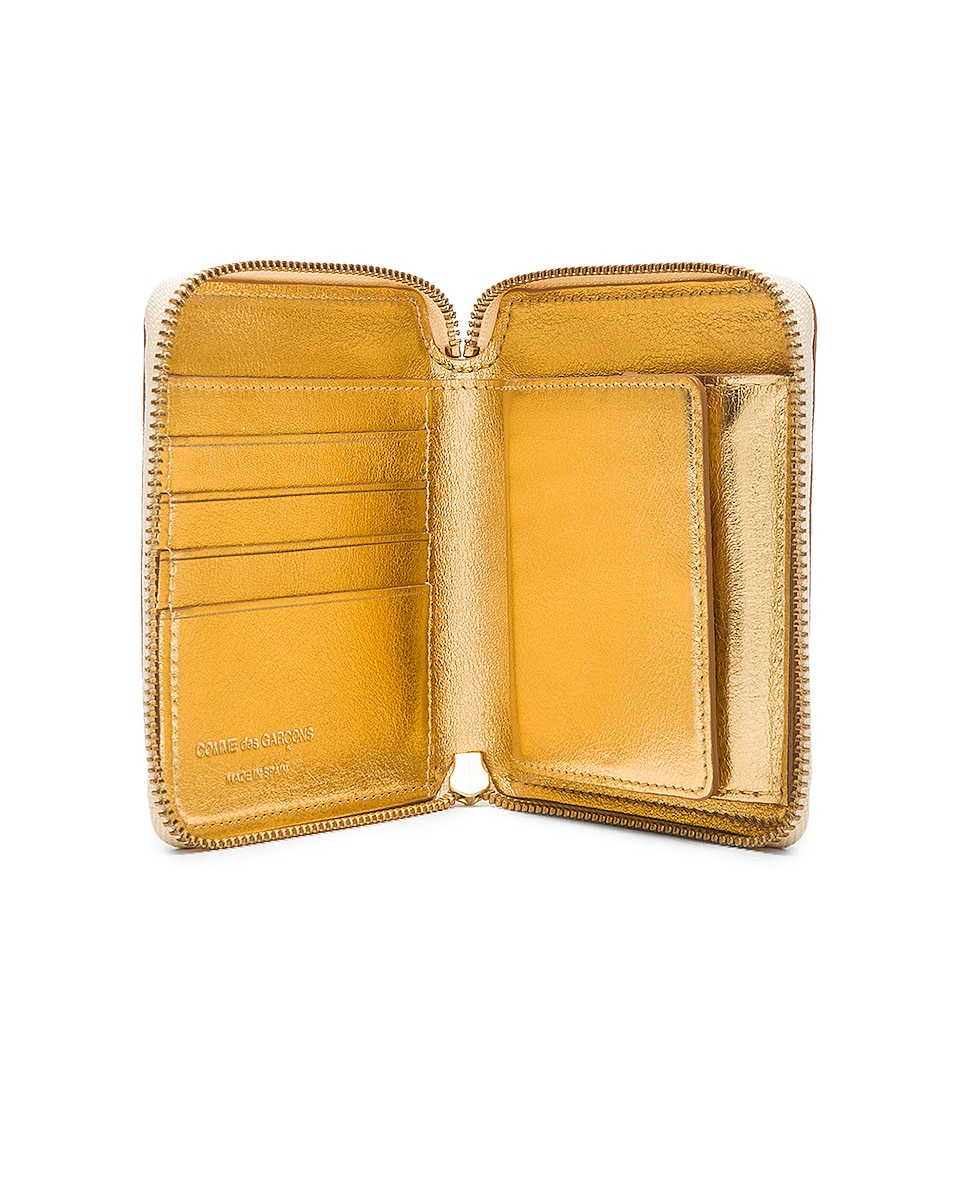 Image 4 of Comme Des Garcons Gold Line Zip Wallet in Gold