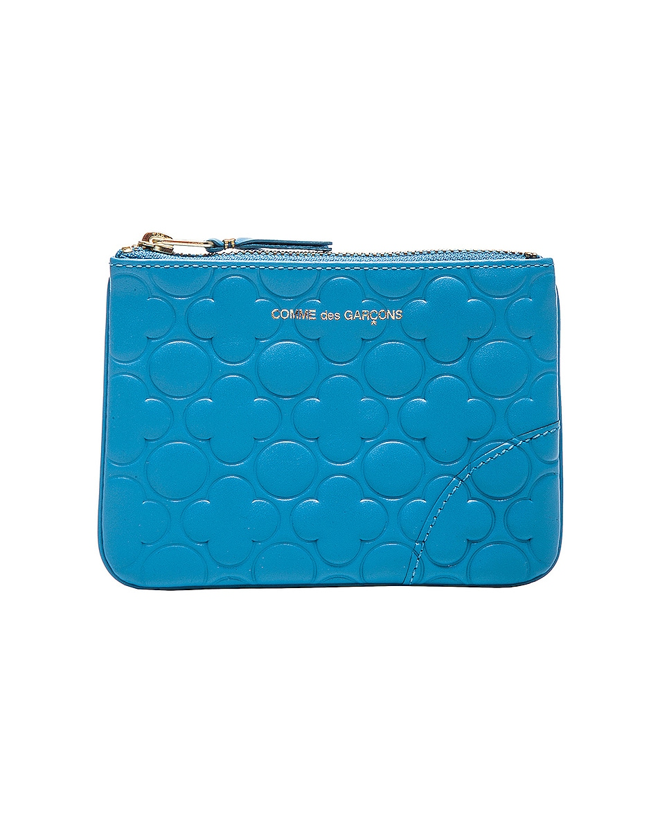 Image 1 of Comme Des Garcons Clover Embossed Small Pouch in Blue