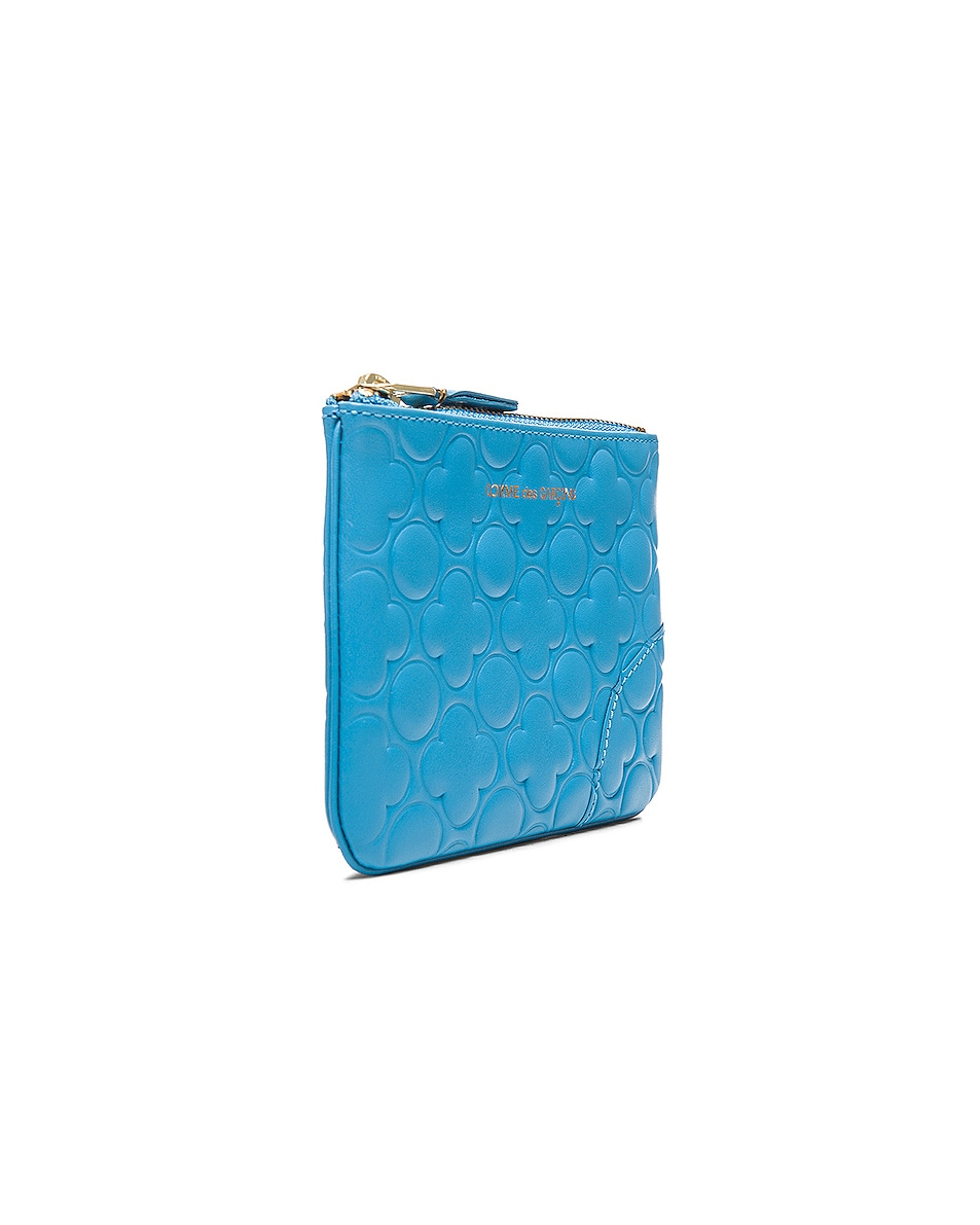 Image 3 of Comme Des Garcons Clover Embossed Small Pouch in Blue