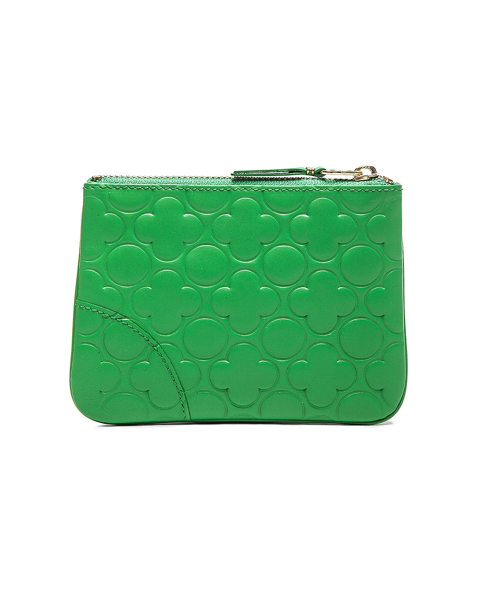 Image 2 of Comme Des Garcons Clover Embossed Small Pouch in Green