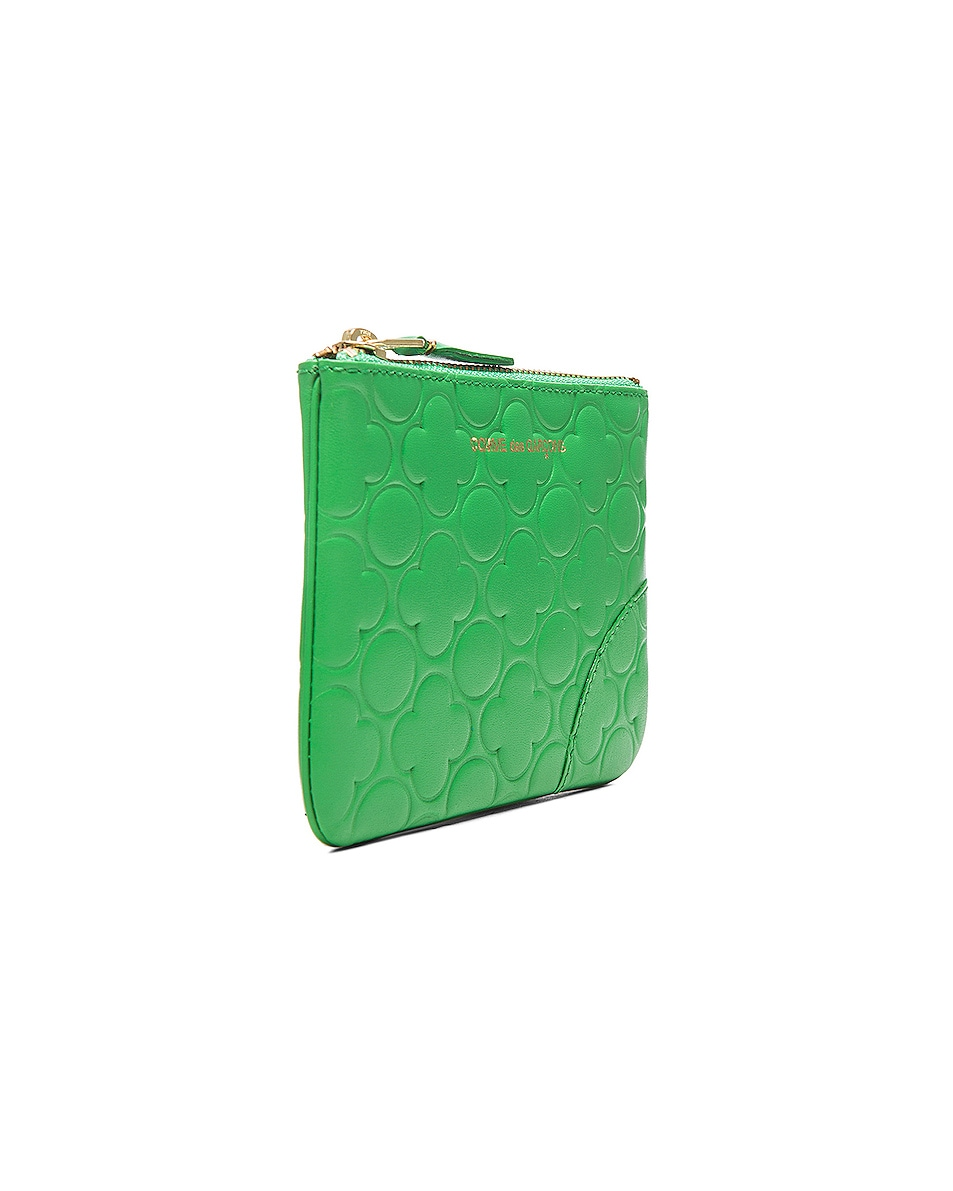 Image 3 of Comme Des Garcons Clover Embossed Small Pouch in Green