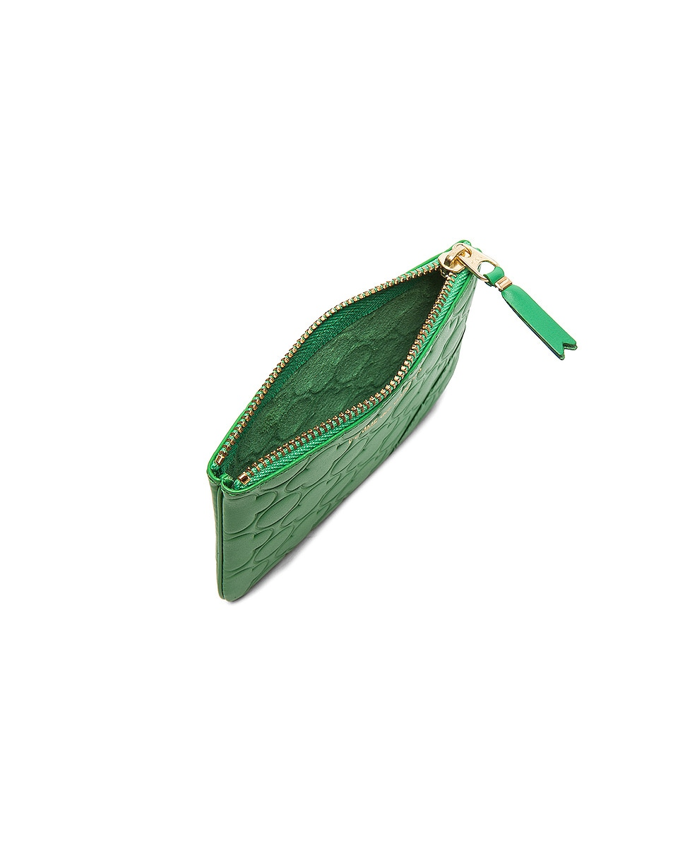 Image 4 of Comme Des Garcons Clover Embossed Small Pouch in Green
