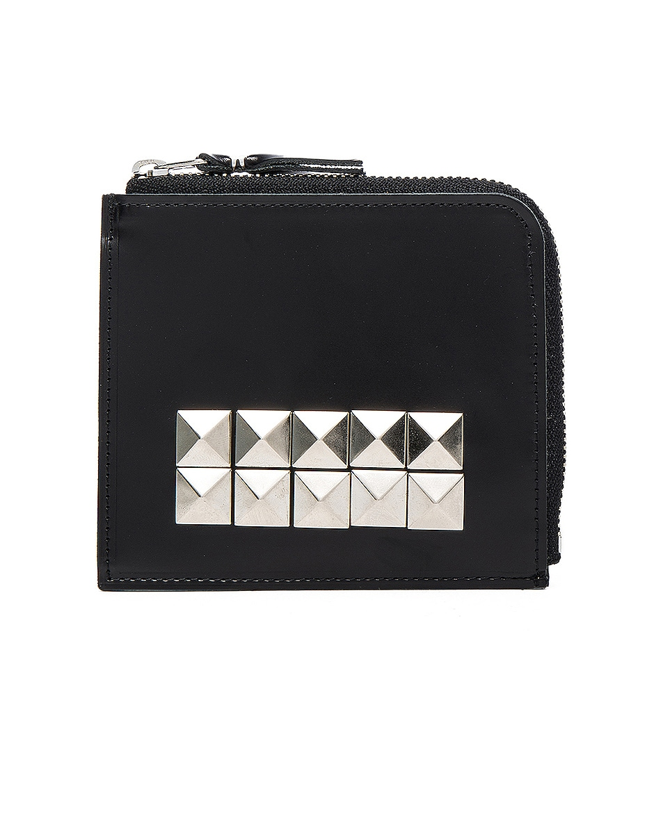 Image 1 of Comme Des Garcons Studded Leather Zip Wallet in Black