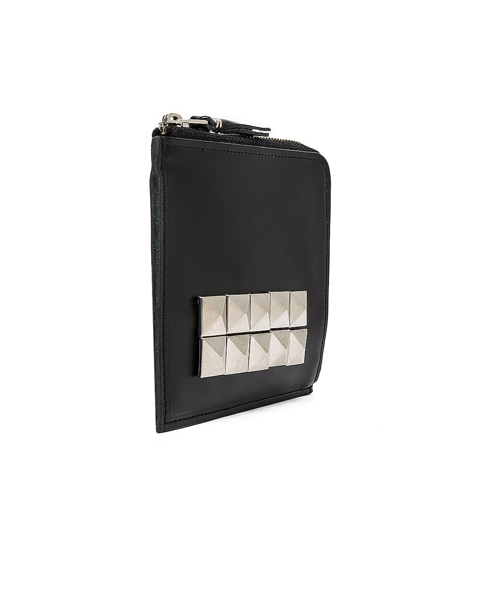 Image 3 of Comme Des Garcons Studded Leather Zip Wallet in Black