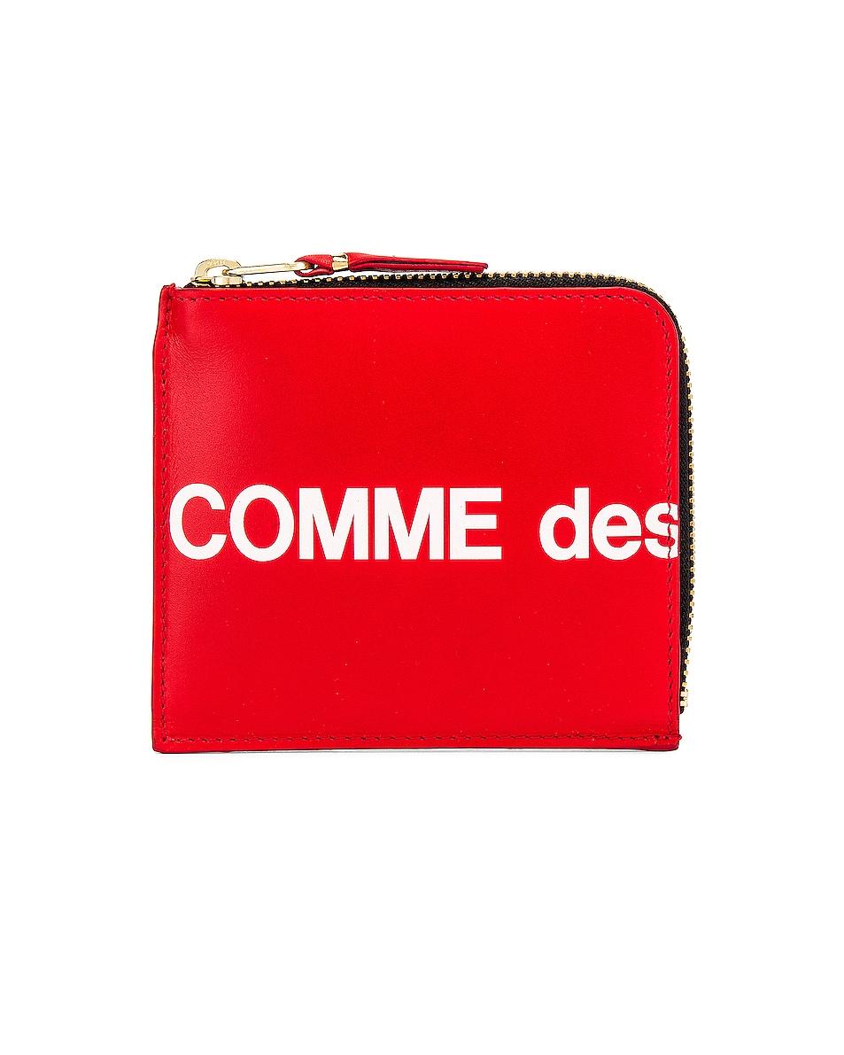 Image 1 of Comme Des Garcons Huge Logo Wallet in Red