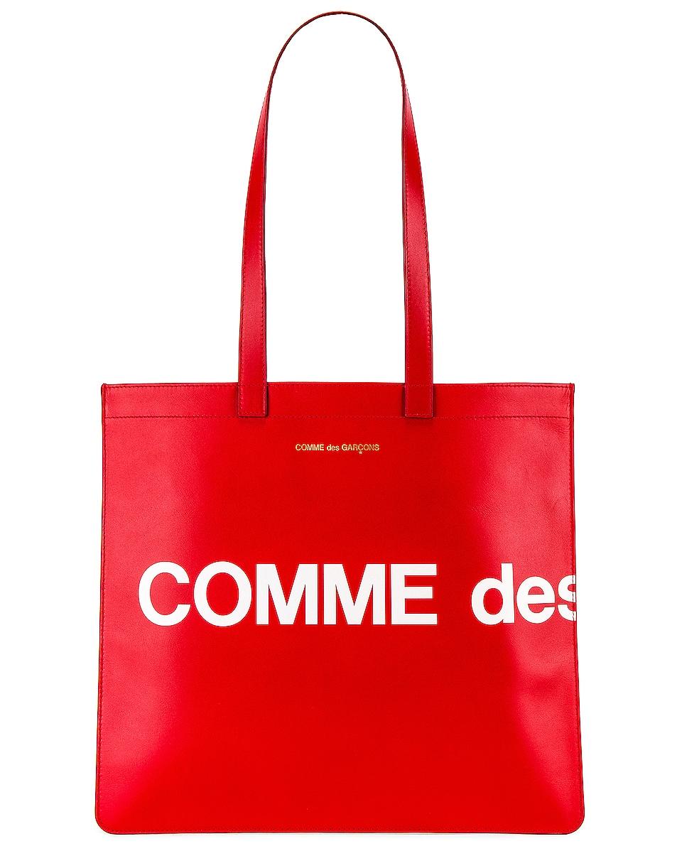 Image 1 of Comme Des Garcons Huge Logo Tote Bag in Red