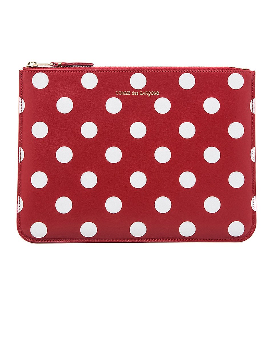Image 1 of Comme Des Garcons Polka Dot Pouch in Red