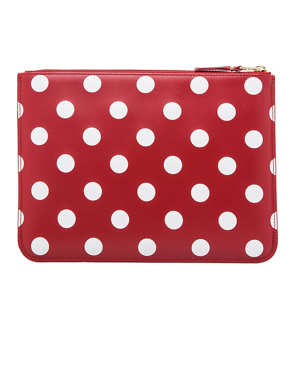 Image 2 of Comme Des Garcons Polka Dot Pouch in Red
