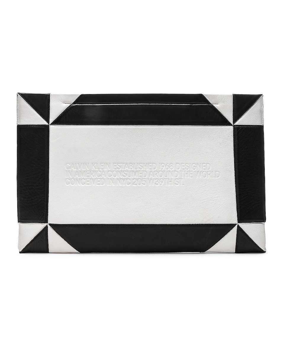 Image 1 of CALVIN KLEIN 205W39NYC Geometric Quilted Clutch in White & Black
