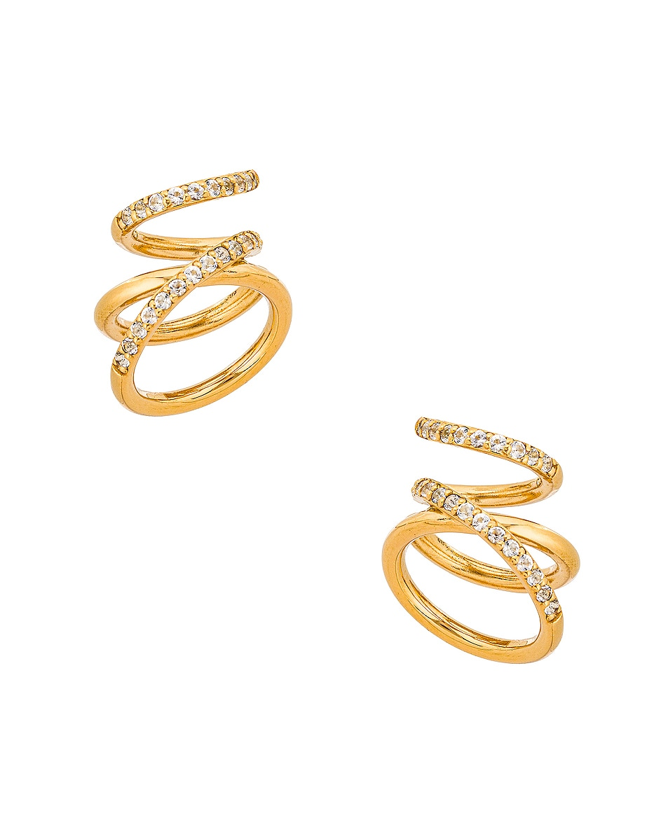 Image 1 of Completedworks Flow Earrings in Gold & White Topaz