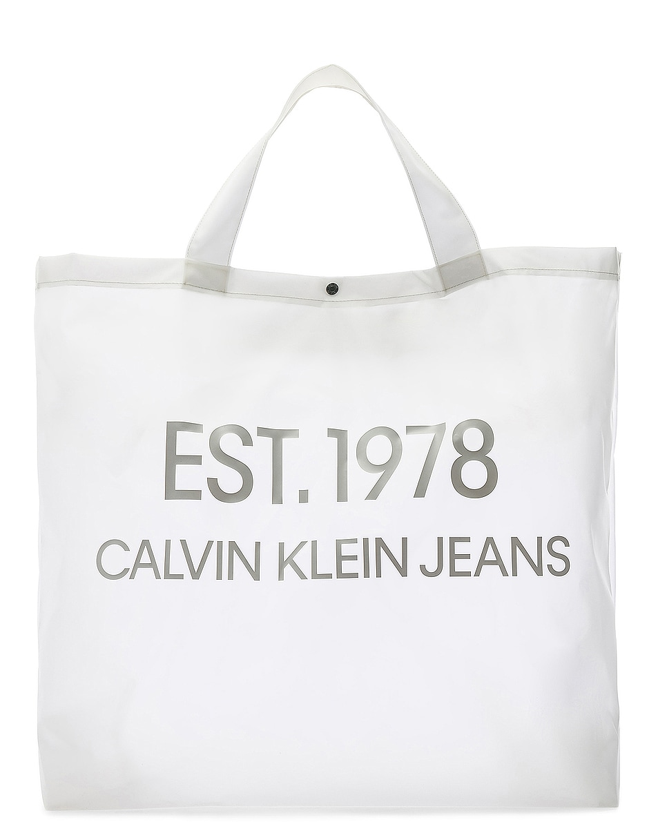 Image 1 of Calvin Klein Est. 1978 Logo Big Tote in Transparent