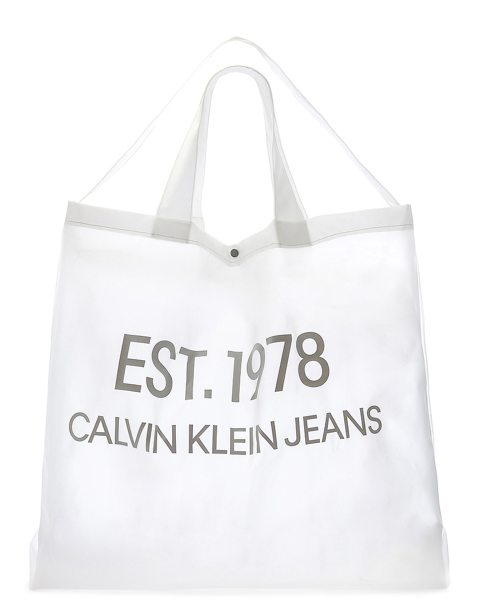 Image 6 of Calvin Klein Est. 1978 Logo Big Tote in Transparent