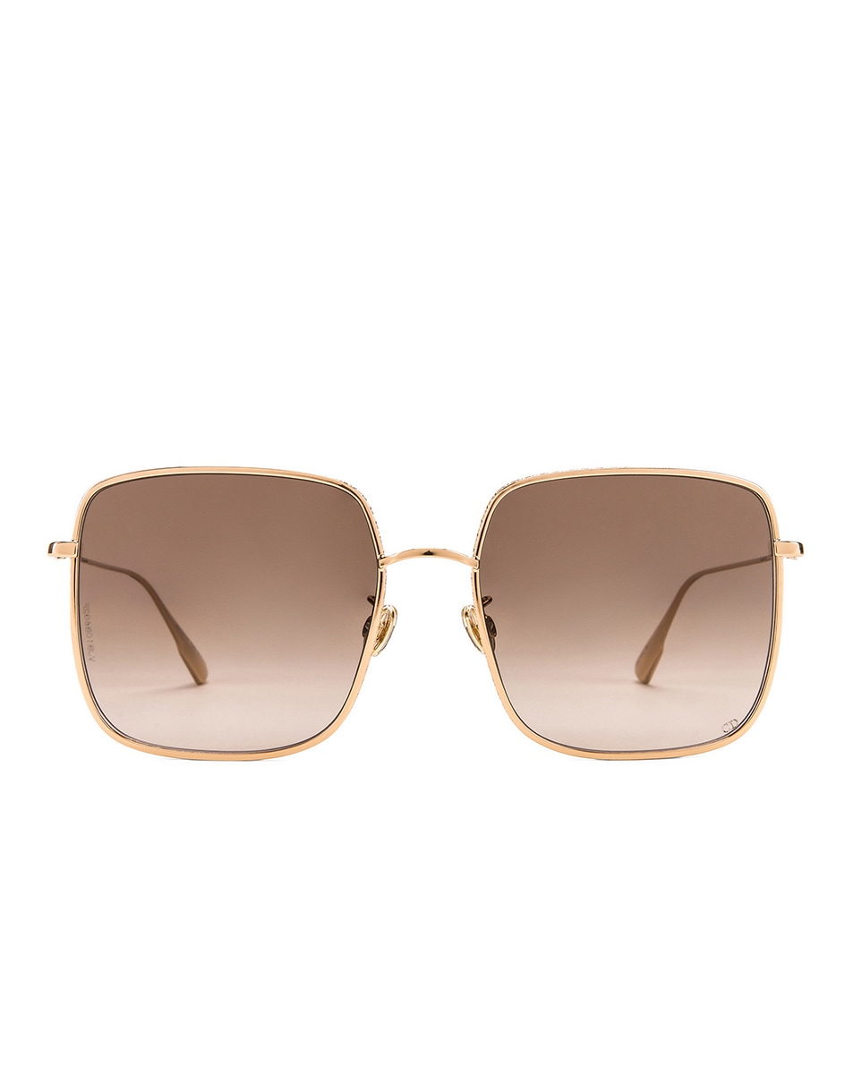 Image 1 of Dior Square Sunglasses in Rose Gold, Black & Brown