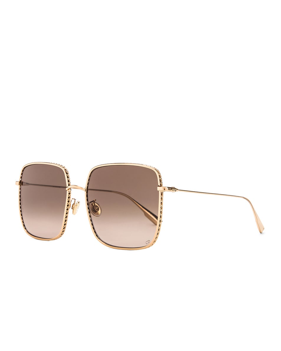 Image 2 of Dior Square Sunglasses in Rose Gold, Black & Brown