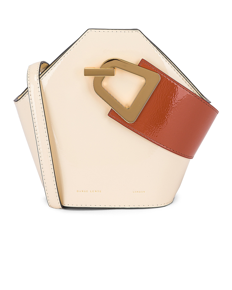 Image 1 of Danse Lente Patent Mini Johnny Bag in Dove & Rosewood