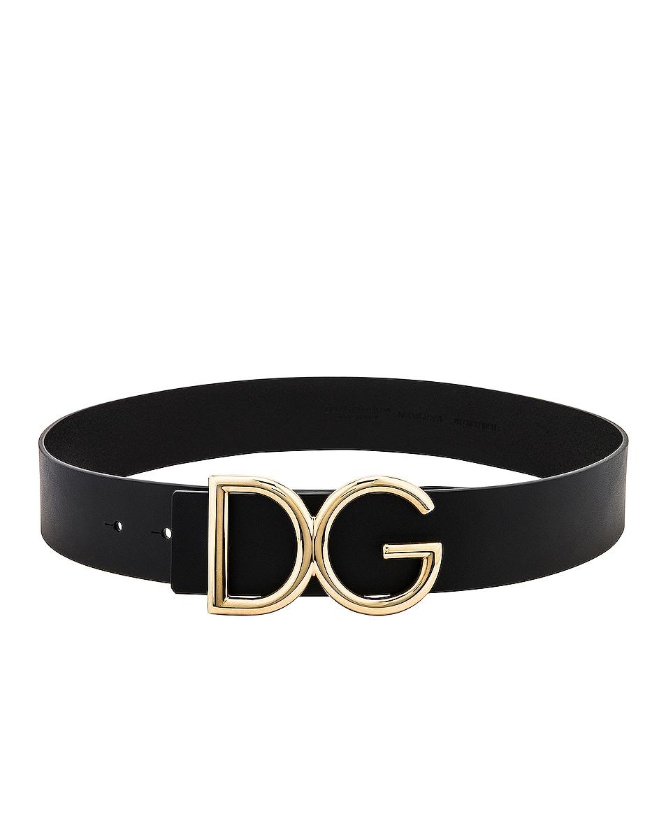 Image 1 of Dolce & Gabbana Logo Belt in Black & Gold