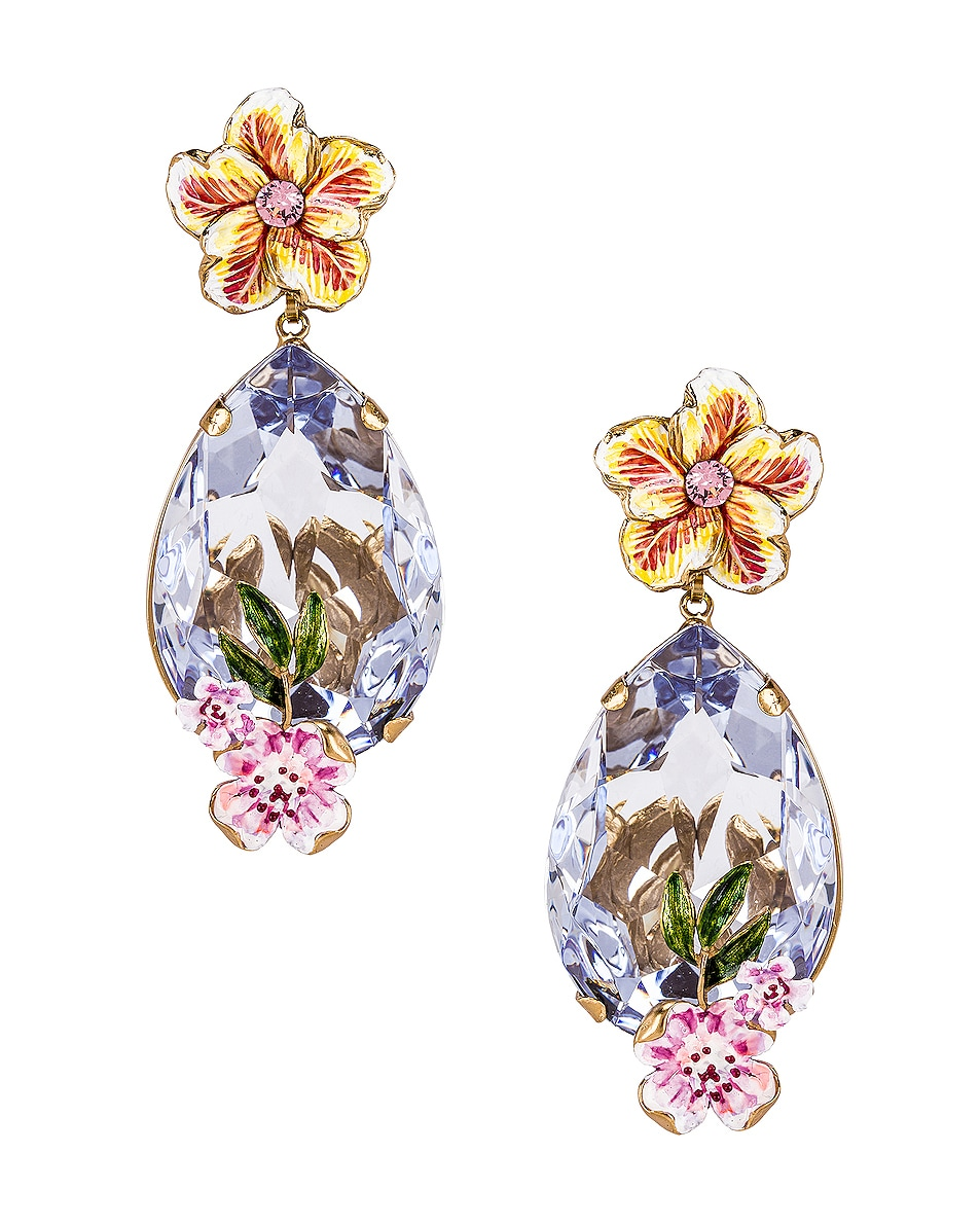 Image 1 of Dolce & Gabbana Flower & Crystal Earrings in Purple
