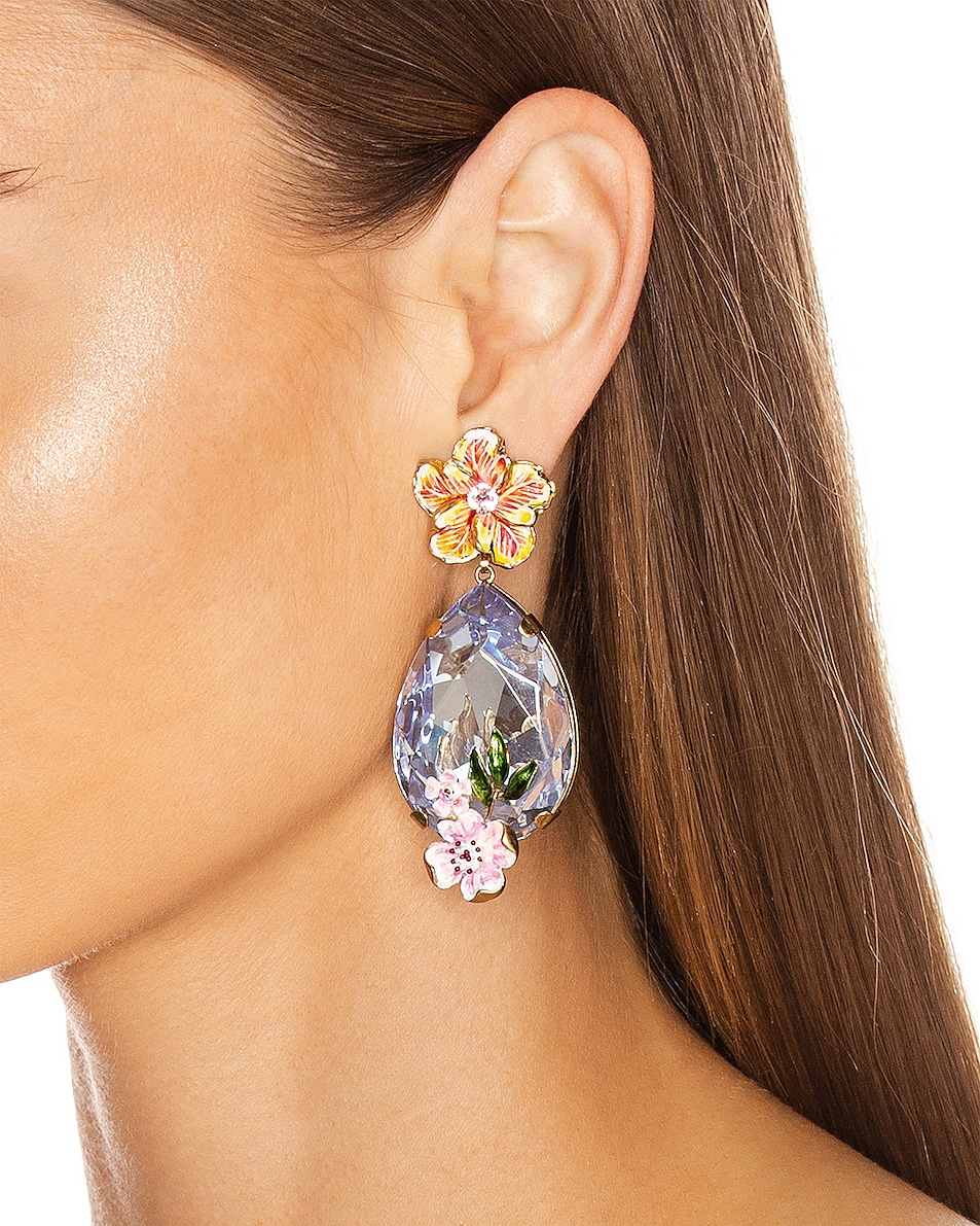 Image 2 of Dolce & Gabbana Flower & Crystal Earrings in Purple