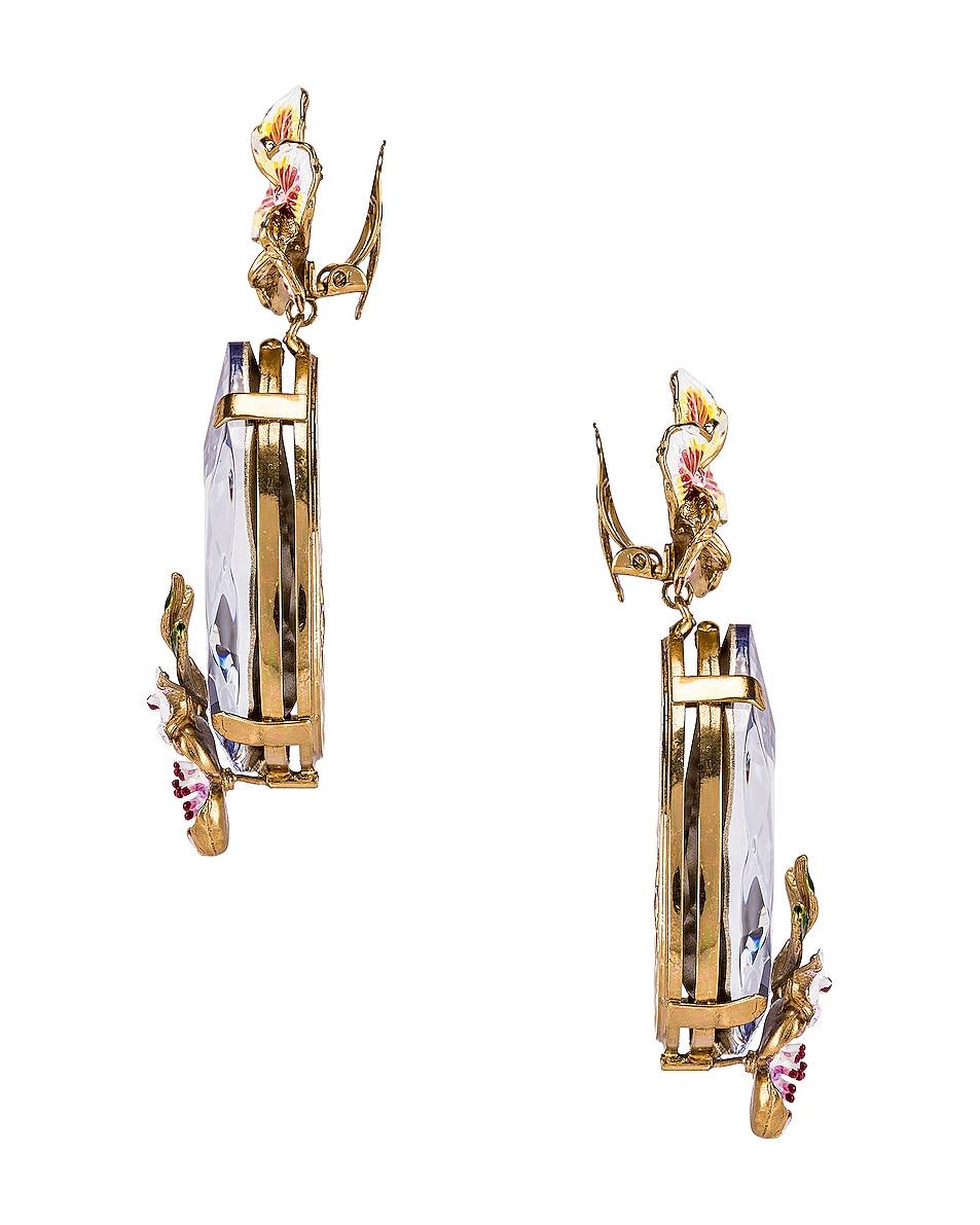 Image 3 of Dolce & Gabbana Flower & Crystal Earrings in Purple