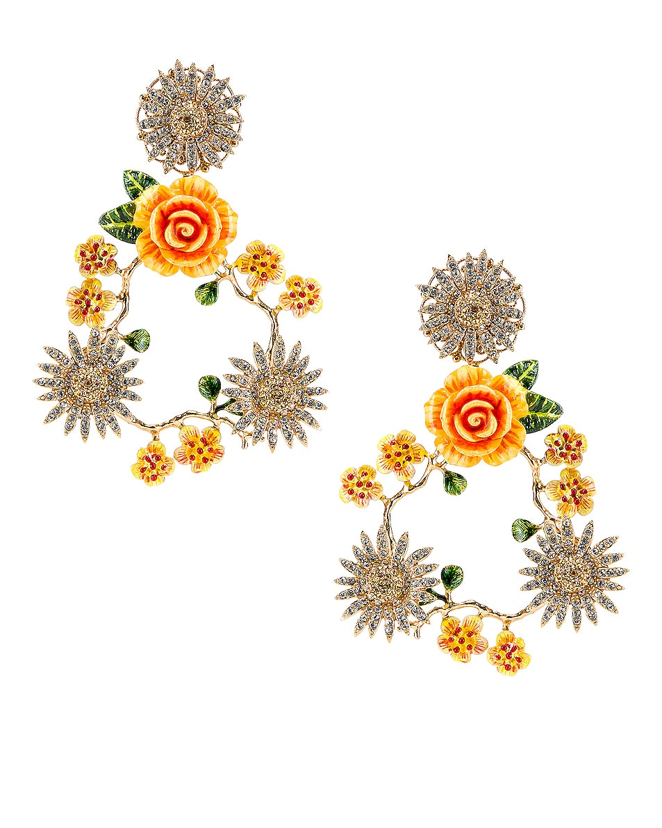 Image 1 of Dolce & Gabbana Floral Mix Earrings in Yellow